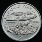 1 доллар 1997 год ЛИБЕРИЯ Вторая мировая война - Западно-Африканская компания